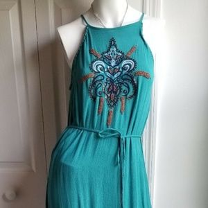 JACHS Girlfriend Dress Maxi Gauze Embroidered Bead